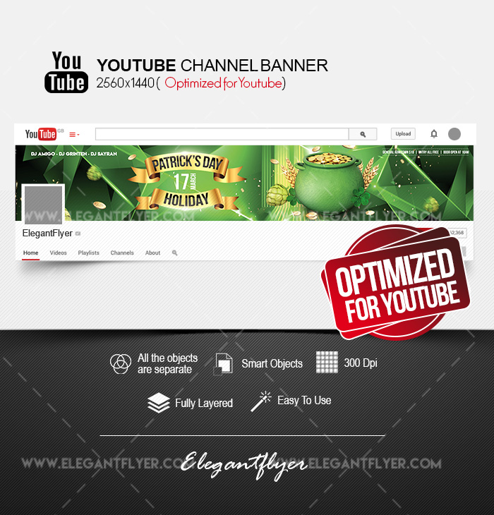 St. Patrick's Day Holiday – Youtube Channel banner PSD Template