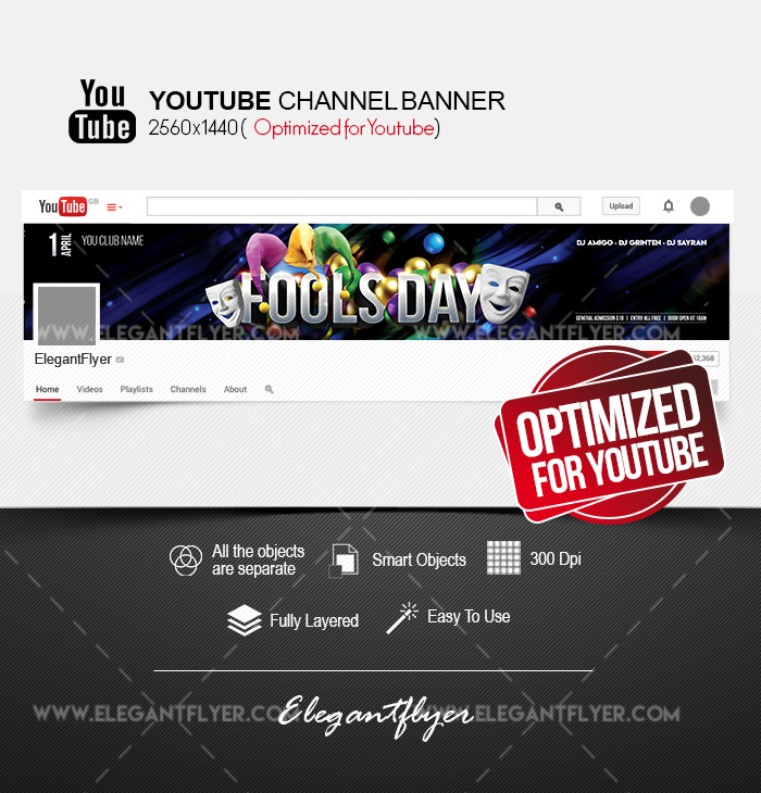 Fool's Day – Youtube Channel banner PSD Template