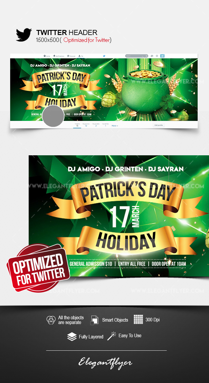 St. Patrick's Day Holiday – Twitter Header PSD Template