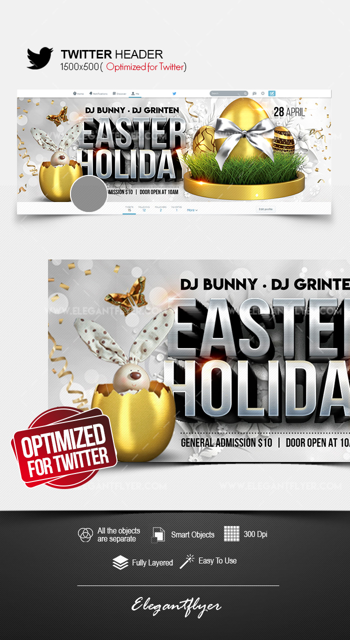 Easter Holiday – Twitter Header PSD Template