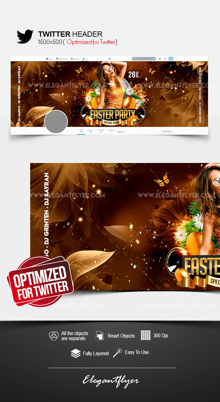 Easter Party – Twitter Header PSD Template
