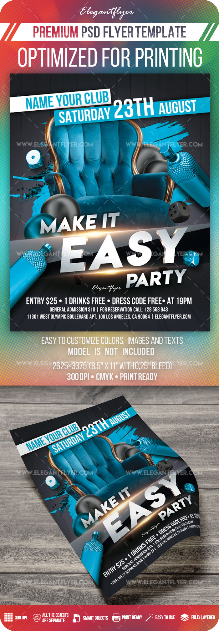 Make it Easy Party – PSD Flyer Template