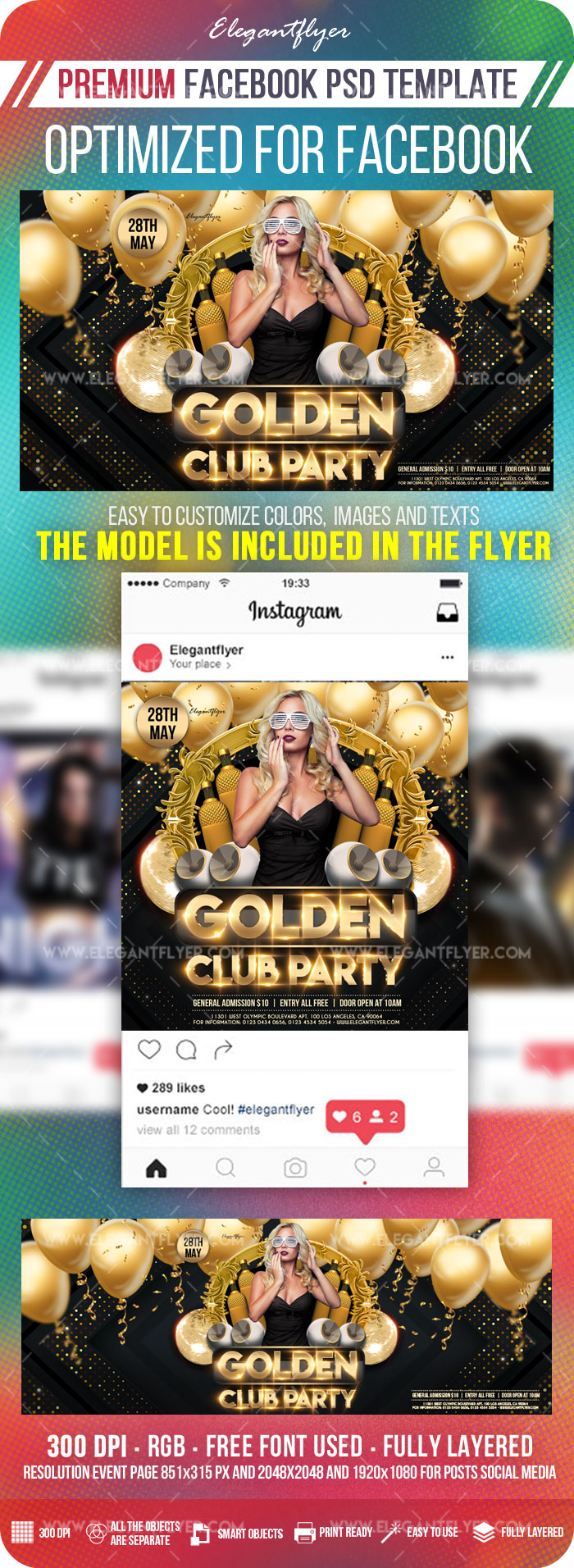 Golden Club Party – Facebook Cover Template in PSD + Post + Event cover
