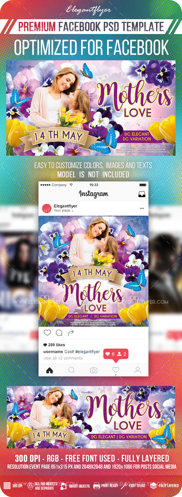 Mother's Love – Facebook Cover Template in PSD + Post + Event cover
