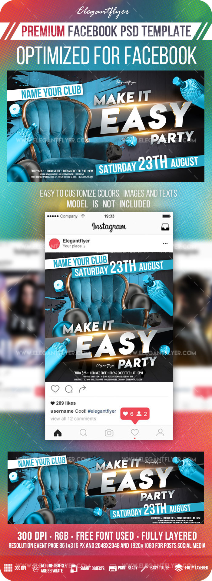 Make it Easy Party – Facebook Cover Template in PSD + Post + Event cover