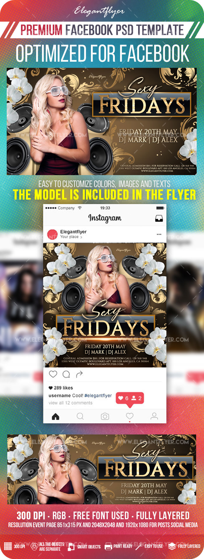 Club Sexy Fridays – Facebook Cover Template in PSD + Post + Event cover