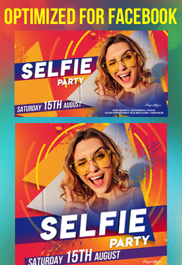 Selfie Party – Facebook Cover Template in PSD + Post + Event cover