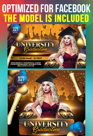 University Graduation – Free Facebook Cover Template in PSD + Post + Event cover