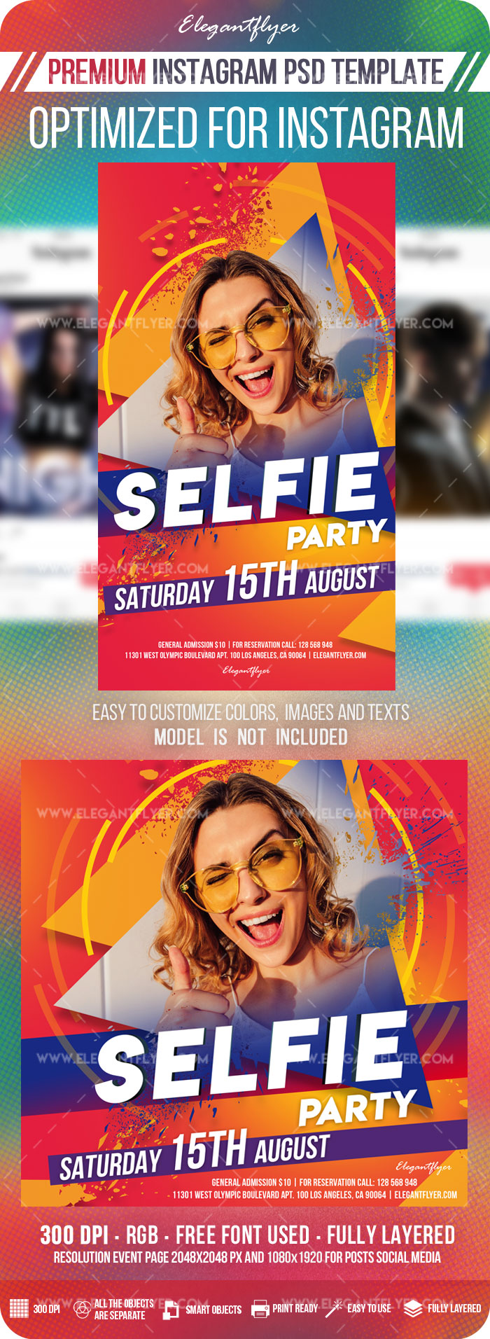 Selfie Party – Instagram Stories Template in PSD + Post Templates