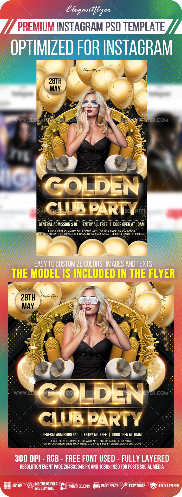 Golden Club Party – Instagram Stories Template in PSD + Post Templates