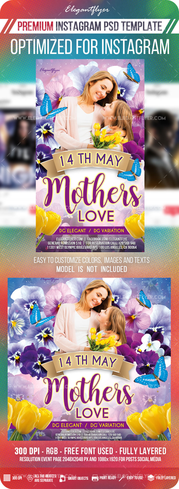 Mother's Love – Instagram Stories Template in PSD + Post Templates