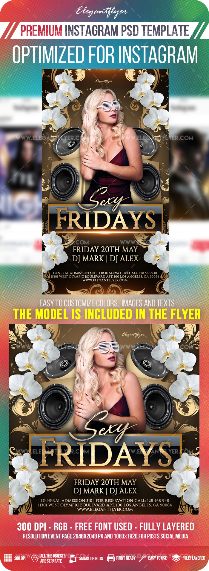 Club Sexy Fridays – Instagram Stories Template in PSD + Post Templates