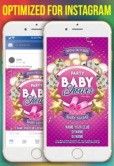 Baby Shower Party – Instagram Stories Template in PSD + Post Templates