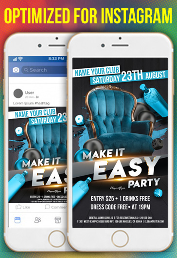 Make it Easy Party – Instagram Stories Template in PSD + Post Templates