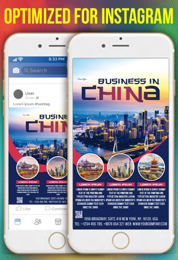 Business in China – Free Instagram Stories Template in PSD + Post Templates