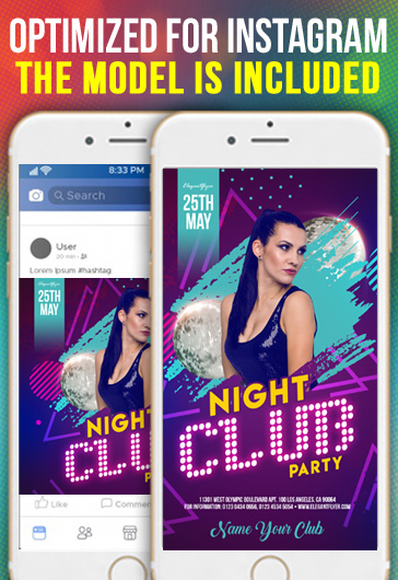 Night Club Party – Free Instagram Stories Template in PSD + Post Templates