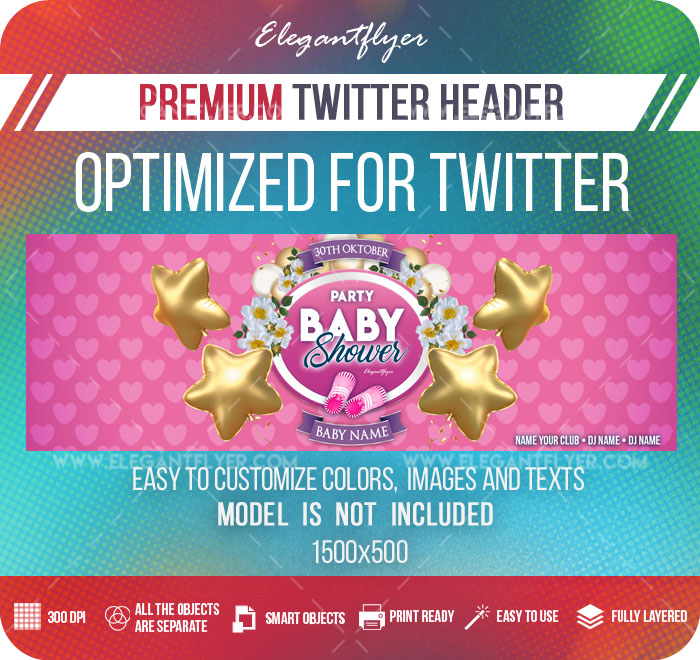 Baby Shower Party – Twitter Header PSD Template