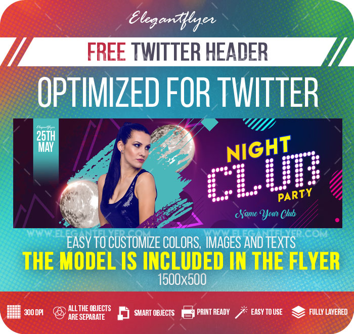 Night Club Party – Free Twitter Header PSD Template