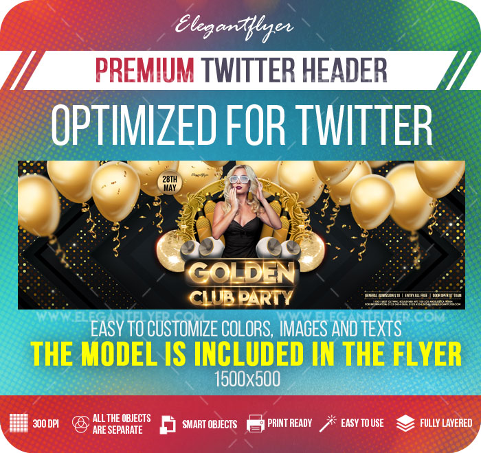 Golden Club Party – Twitter Header PSD Template