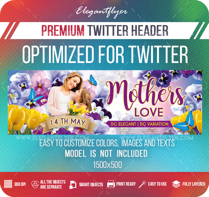 Mother's Love – Twitter Header PSD Template