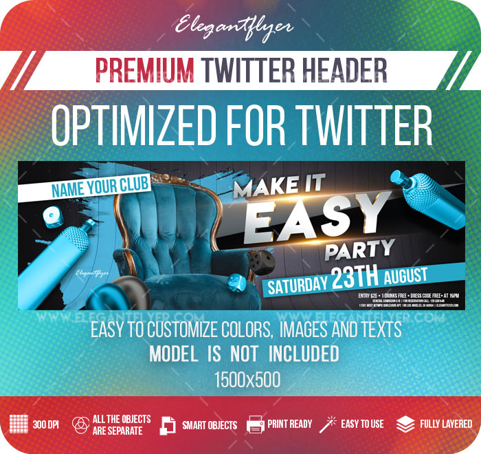 Make it Easy Party – Twitter Header PSD Template
