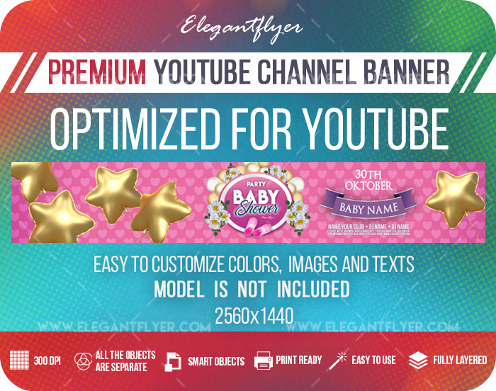 Baby Shower Party – Youtube Channel banner PSD Template