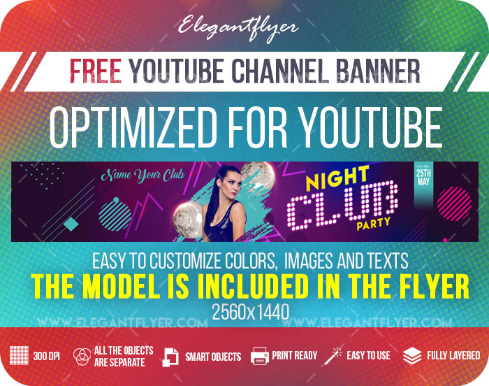 Night Club Party – Free Youtube Channel banner PSD Template