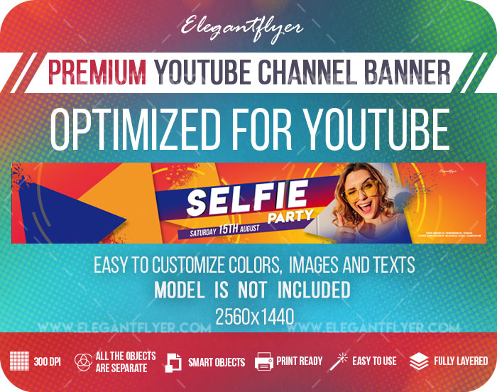 Selfie Party – Youtube Channel banner PSD Template
