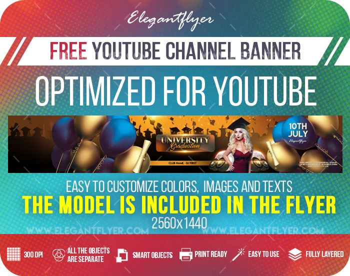University Graduation – Free Youtube Channel banner PSD Template