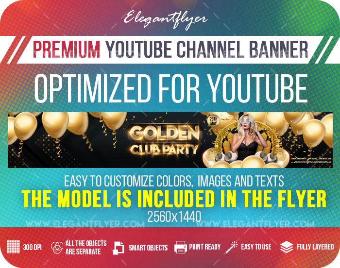 Golden Club Party – Youtube Channel banner PSD Template