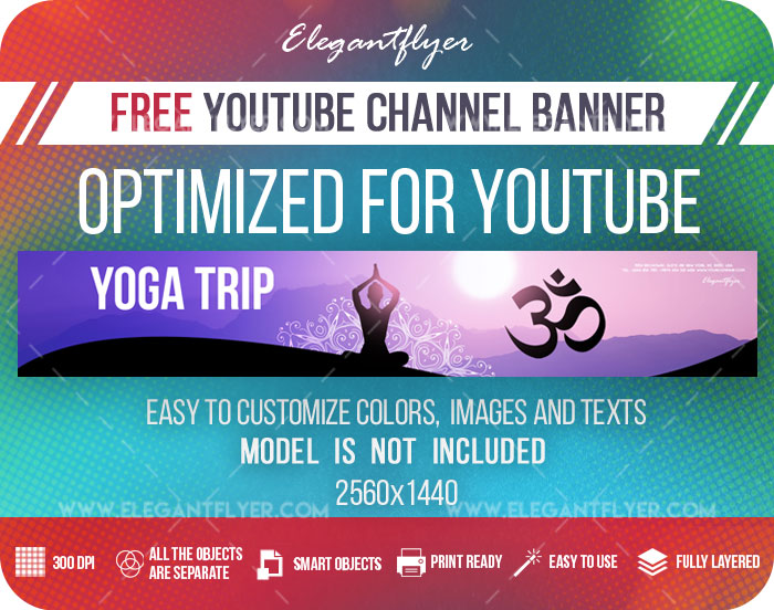 Yoga Trip – Youtube Channel banner PSD Template