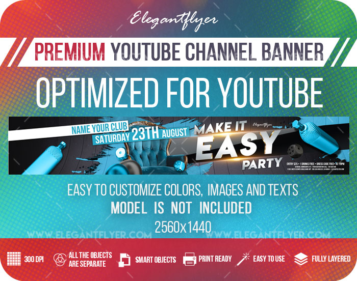 Make it Easy Party – Youtube Channel banner PSD Template