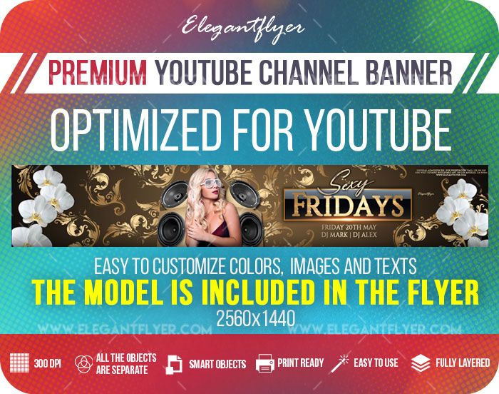 Club Sexy Fridays – Youtube Channel banner PSD Template