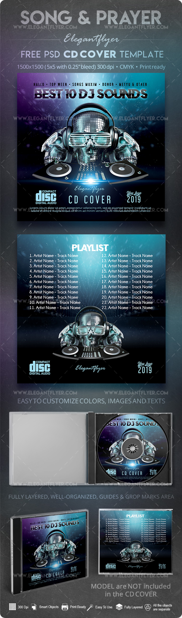 Best 10 DJ Sounds – Premium CD Cover PSD Template