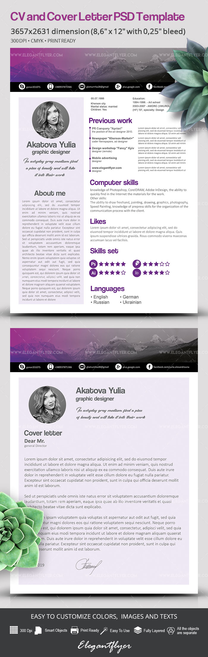 Free CV Template in PSD
