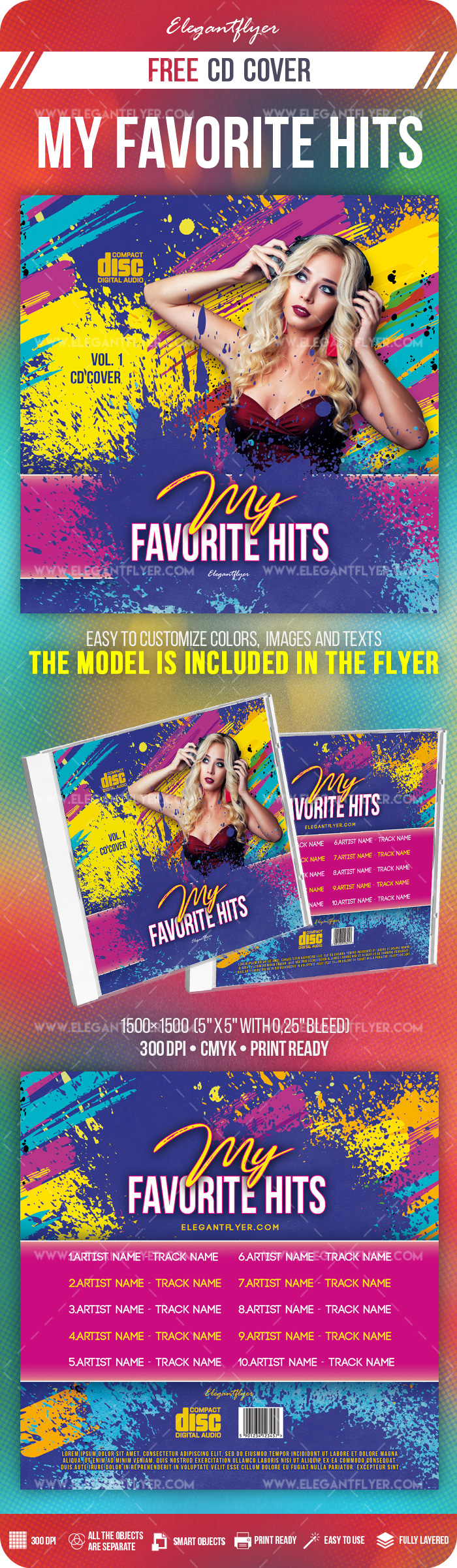 My Favorite Hits – Free PSD CD Cover Template