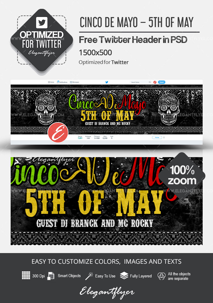 Cinco de Mayo – 5th of May – Free Twitter Header PSD Template