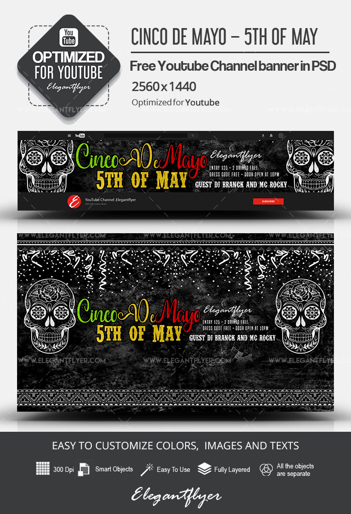 Cinco de Mayo – 5th of May – Free Youtube Channel banner PSD Template
