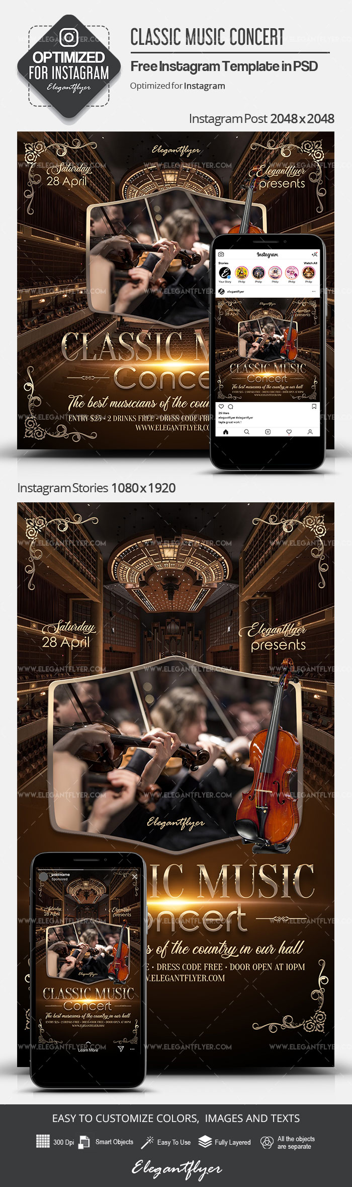 Classic Music Concert – Free Instagram Stories Template in PSD + Post Templates
