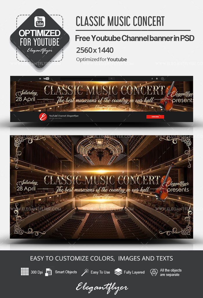 Classic Music Concert – Free Youtube Channel banner PSD Template