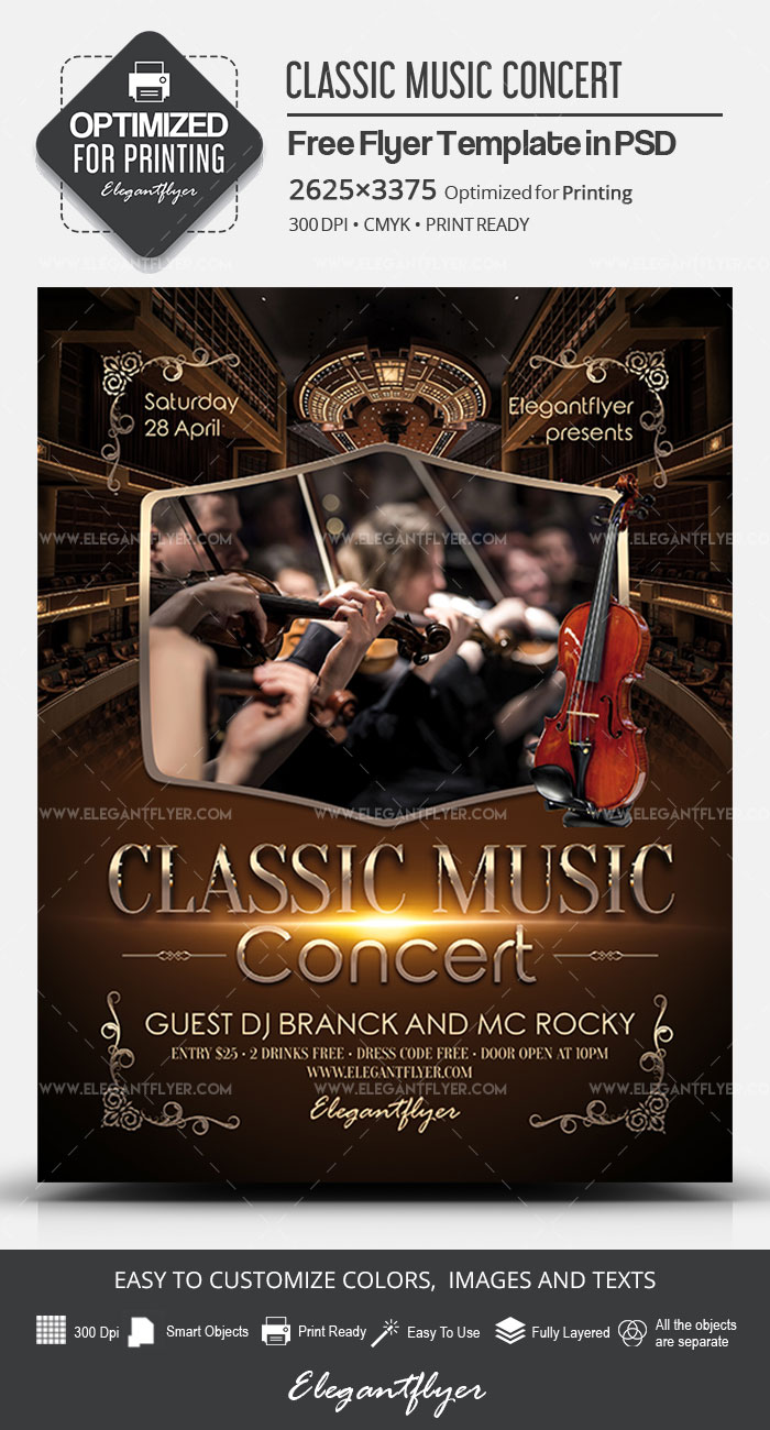 classic music concert  u2013 free psd flyer template  u2013 by