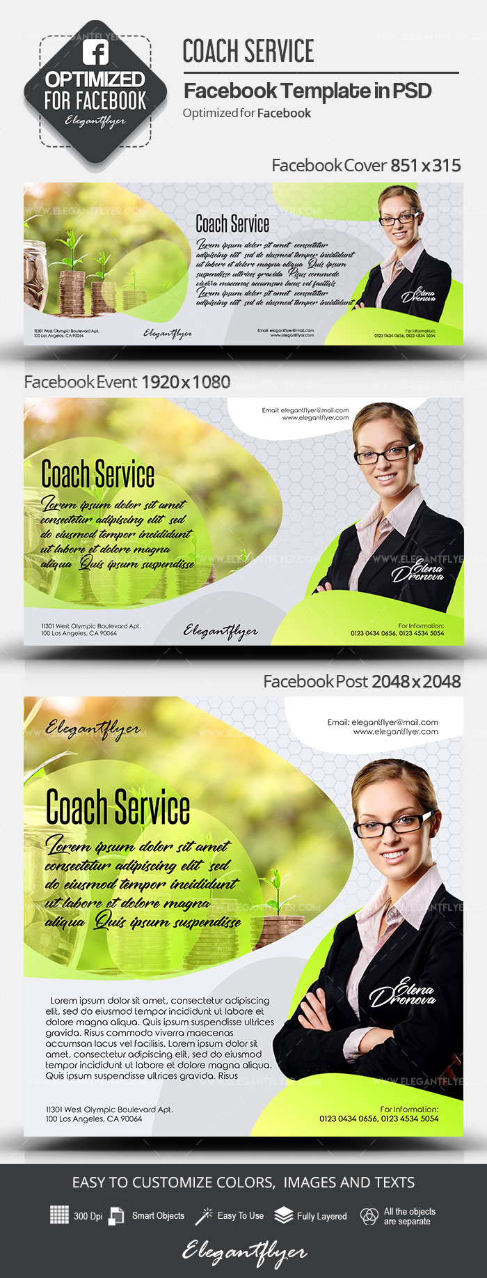 Coach Service – Facebook Cover Template in PSD + Post + Event cover