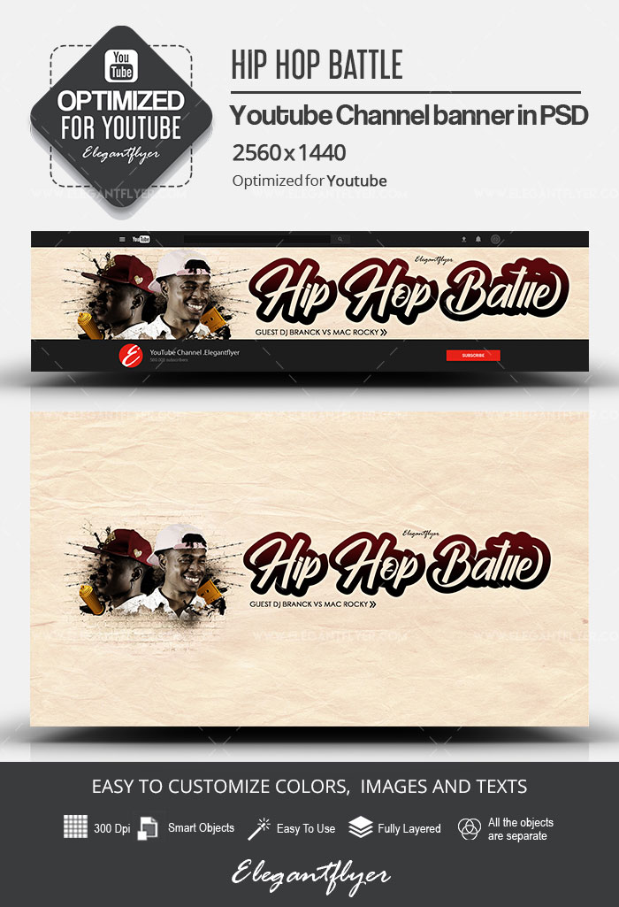 Hip Hop Battle – Youtube Channel banner PSD Template