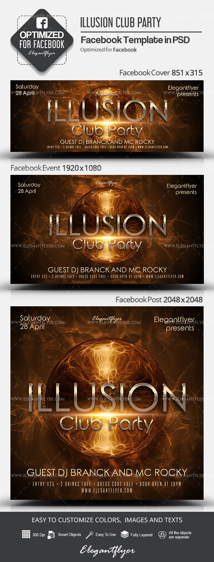 Illusion Club Party – Facebook Cover Template in PSD + Post + Event cover
