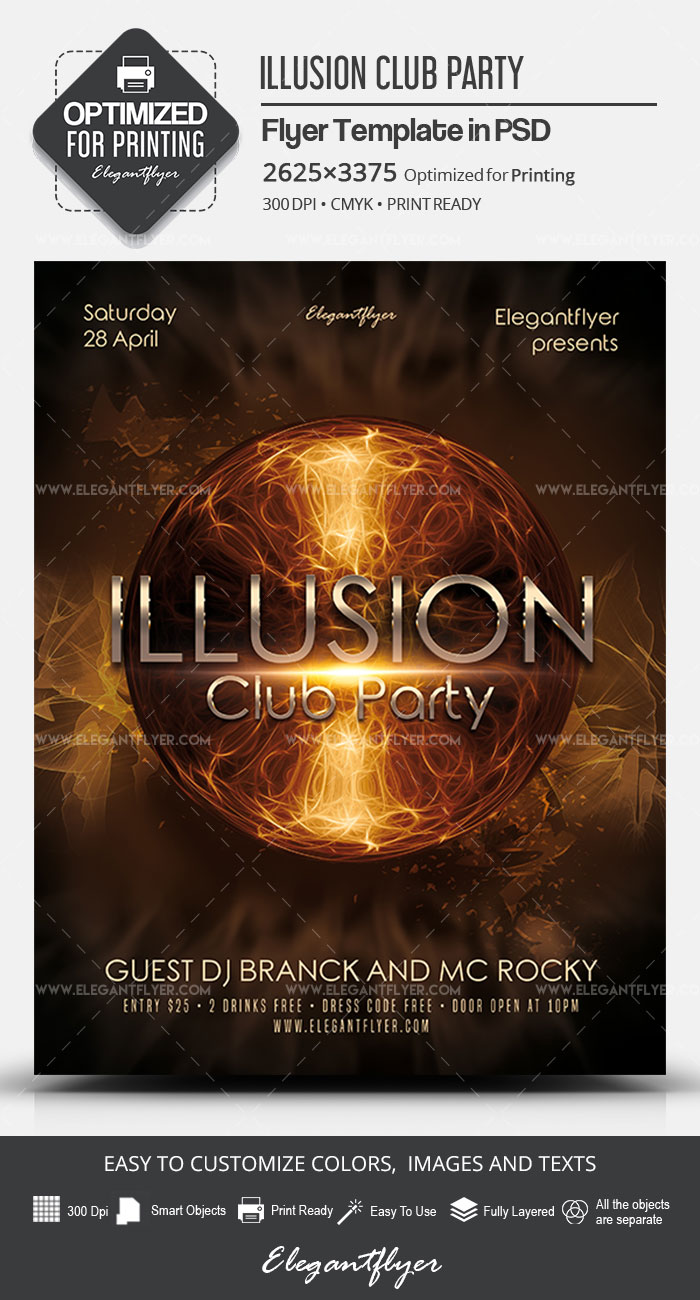 Illusion Club Party – PSD Flyer Template