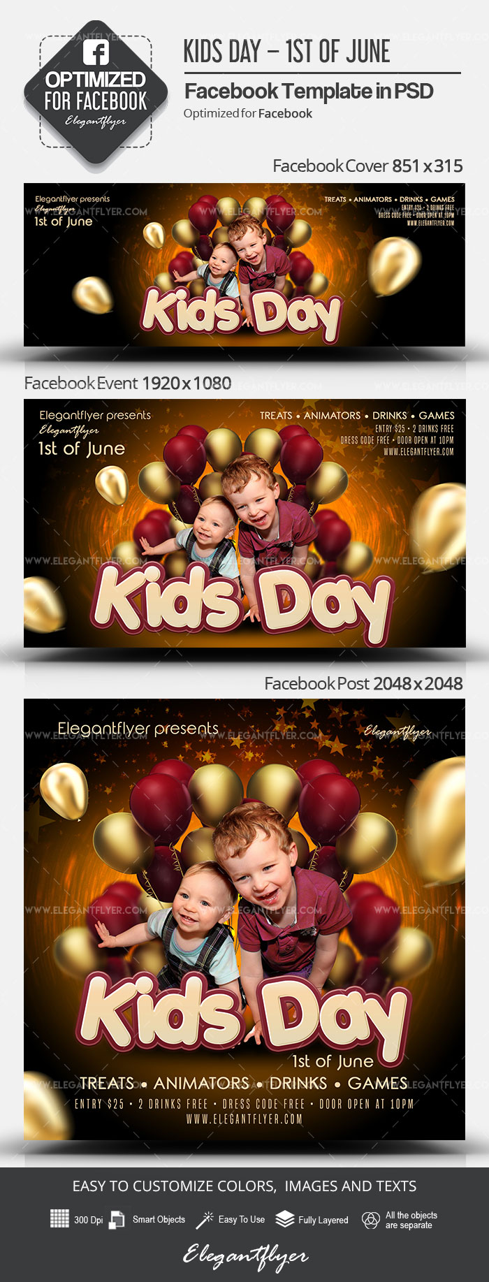 Kids Day – 1st of June – Facebook Cover Template in PSD + Post + Event cover