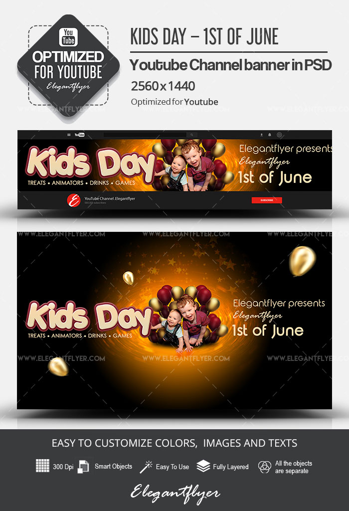 Kids Day – 1st of June – Youtube Channel banner PSD Template