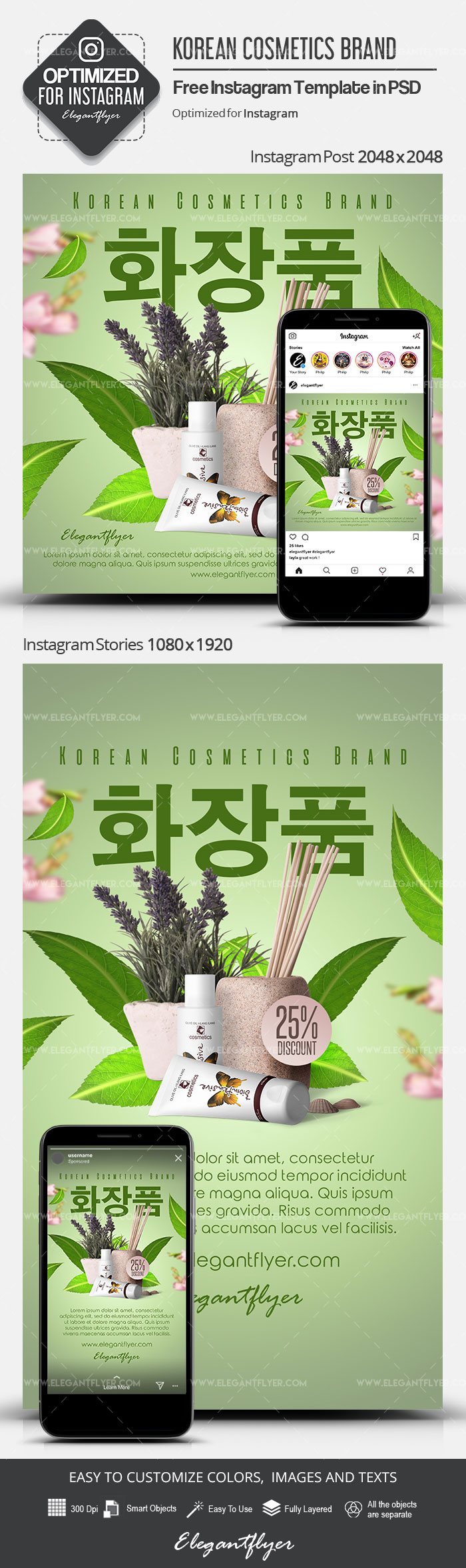 Korean Cosmetics Brand – Free Instagram Stories Template in PSD + Post Templates