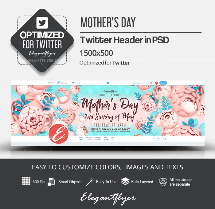 Mother's Day – 2nd Sunday of May – Twitter Header PSD Template