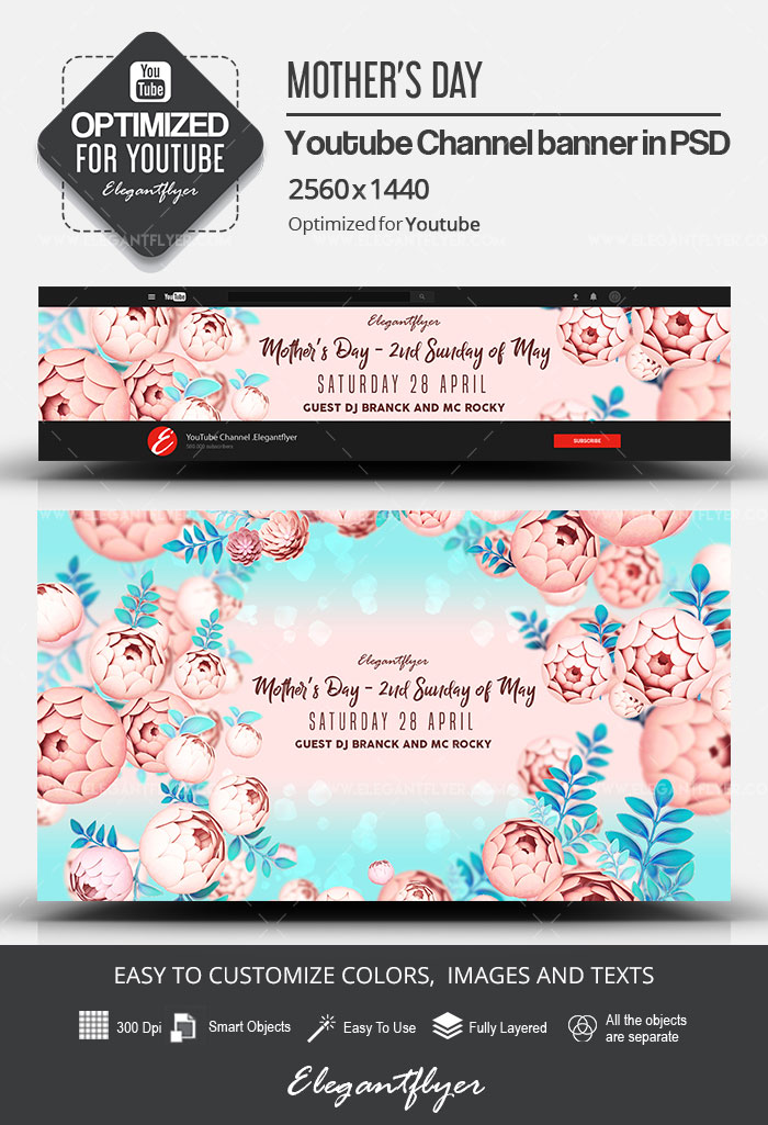 Mother's Day – 2nd Sunday of May – Youtube Channel banner PSD Template